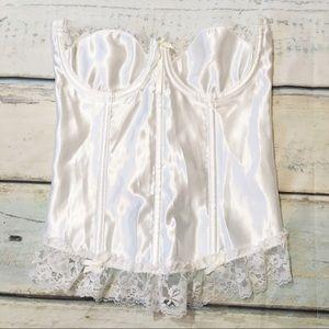 Vintage White Bridal Lace Trim Corset Lingerie